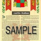 CURTIS - ITALIAN - Coat of Arms - Family Crest - Armorial GIFT! 8.5x11