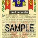 DAHL - NORWEGIAN - Coat of Arms - Family Crest - Armorial GIFT! 8.5x11
