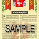 DALE - ENGLISH - Coat of Arms - Family Crest - Armorial GIFT! 8.5x11