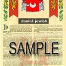 DANIEL - JEWISH - Coat of Arms - Family Crest - Armorial GIFT! 8.5x11