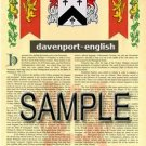DAVENPORT - ENGLISH - Coat of Arms - Family Crest - Armorial GIFT! 8.5x11