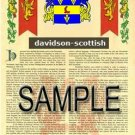DAVIDSON - SCOTTISH - Coat of Arms - Family Crest - Armorial GIFT! 8.5x11
