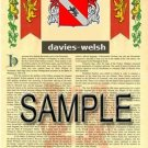 DAVIES - WELSH - Coat of Arms - Family Crest - Armorial GIFT! 8.5x11