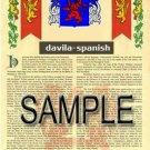 DAVILA - SPANISH - Coat of Arms - Family Crest - Armorial GIFT! 8.5x11
