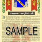 DAWSON - ENGLISH - ALT - Coat of Arms - Family Crest - Armorial GIFT! 8.5x11