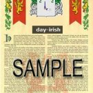 DAY - IRISH - Coat of Arms - Family Crest - Armorial GIFT! 8.5x11