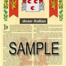 DEAN - ITALIAN - Coat of Arms - Family Crest - Armorial GIFT! 8.5x11