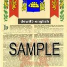 DEWITT - ENGLISH - Coat of Arms - Family Crest - Armorial GIFT! 8.5x11