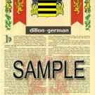 DILLON - GERMAN - Coat of Arms - Family Crest - Armorial GIFT! 8.5x11