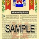 DONNELLY - IRISH - Coat of Arms - Family Crest - Armorial GIFT! 8.5x11