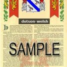 DOTSON - WELSH - Coat of Arms - Family Crest - Armorial GIFT! 8.5x11