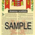 DOWNEY - SCOTTISH - Coat of Arms - Family Crest - Armorial GIFT! 8.5x11