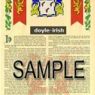 DOYLE - IRISH - Coat of Arms - Family Crest - Armorial GIFT! 8.5x11