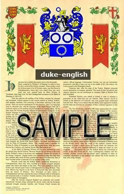DUKE - ENGLISH - Coat of Arms - Family Crest - Armorial GIFT! 8.5x11