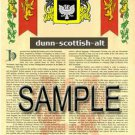 DUNN - SCOTTISH - ALT - Coat of Arms - Family Crest - Armorial GIFT! 8.5x11