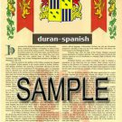 DURAN - SPANISH - Coat of Arms - Family Crest - Armorial GIFT! 8.5x11