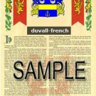DUVALL - FRENCH - Coat of Arms - Family Crest - Armorial GIFT! 8.5x11
