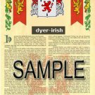 DYER - IRISH - Coat of Arms - Family Crest - Armorial GIFT! 8.5x11