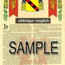 ELDRIDGE - ENGLISH - Coat of Arms - Family Crest - Armorial GIFT! 8.5x11