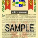 ELIAS - GERMAN - Coat of Arms - Family Crest - Armorial GIFT! 8.5x11