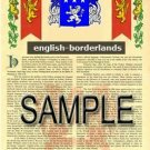 ENGLISH - BORDERLANDS - Coat of Arms - Family Crest - Armorial GIFT! 8.5x11