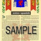 ESTES - SPANISH - Coat of Arms - Family Crest - Armorial GIFT! 8.5x11