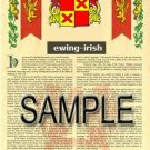 EWING - IRISH - Coat of Arms - Family Crest - Armorial GIFT! 8.5x11