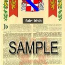 FAIR - IRISH - Coat of Arms - Family Crest - Armorial GIFT! 8.5x11