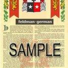 FELDMAN - GERMAN - Coat of Arms - Family Crest - Armorial GIFT! 8.5x11