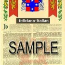 FELICIANO - ITALIAN - Coat of Arms - Family Crest - Armorial GIFT! 8.5x11