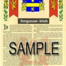 FERGUSON - IRISH - Coat of Arms - Family Crest - Armorial GIFT! 8.5x11