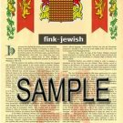 FINK - JEWISH - Coat of Arms - Family Crest - Armorial GIFT! 8.5x11
