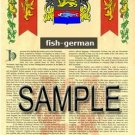FISH - GERMAN - Coat of Arms - Family Crest - Armorial GIFT! 8.5x11