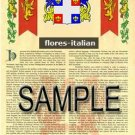 FLORES - ITALIAN - Coat of Arms - Family Crest - Armorial GIFT! 8.5x11