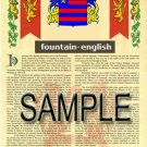 FOUNTAIN - ENGLISH - Coat of Arms - Family Crest - Armorial GIFT! 8.5x11