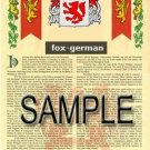 FOX - GERMAN - Coat of Arms - Family Crest - Armorial GIFT! 8.5x11