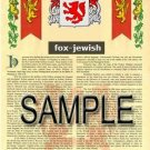 FOX - JEWISH - Coat of Arms - Family Crest - Armorial GIFT! 8.5x11