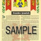 FRANKS - JEWISH - Coat of Arms - Family Crest - Armorial GIFT! 8.5x11