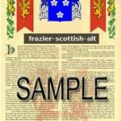 FRAZIER - SCOTTISH - ALT - Coat of Arms - Family Crest - Armorial GIFT! 8.5x11