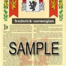 FREDERICK - NORWEGIAN - Coat of Arms - Family Crest - Armorial GIFT! 8.5x11