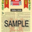 FULLER - IRISH - Coat of Arms - Family Crest - Armorial GIFT! 8.5x11