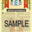 GARCIA - PORTUGUESE - Coat of Arms - Family Crest - Armorial GIFT! 8.5x11