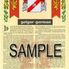 GEIGER - GERMAN - Coat of Arms - Family Crest - Armorial GIFT! 8.5x11