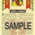 GIBBS - ENGLISH - Coat of Arms - Family Crest - Armorial GIFT! 8.5x11