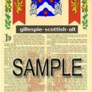 GILLESPIE - SCOTTISH - ALT - Coat of Arms - Family Crest - Armorial GIFT! 8.5x11
