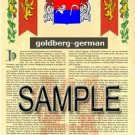 GOLDBERG - GERMAN - Coat of Arms - Family Crest - Armorial GIFT! 8.5x11