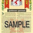 GOLDMAN - GERMAN - Coat of Arms - Family Crest - Armorial GIFT! 8.5x11