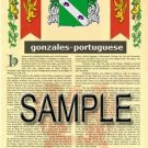 GONZALES - PORTUGUESE - Coat of Arms - Family Crest - Armorial GIFT! 8.5x11