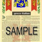 GRECO - ITALIAN - Coat of Arms - Family Crest - Armorial GIFT! 8.5x11