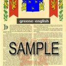 GREENE - ENGLISH - Coat of Arms - Family Crest - Armorial GIFT! 8.5x11